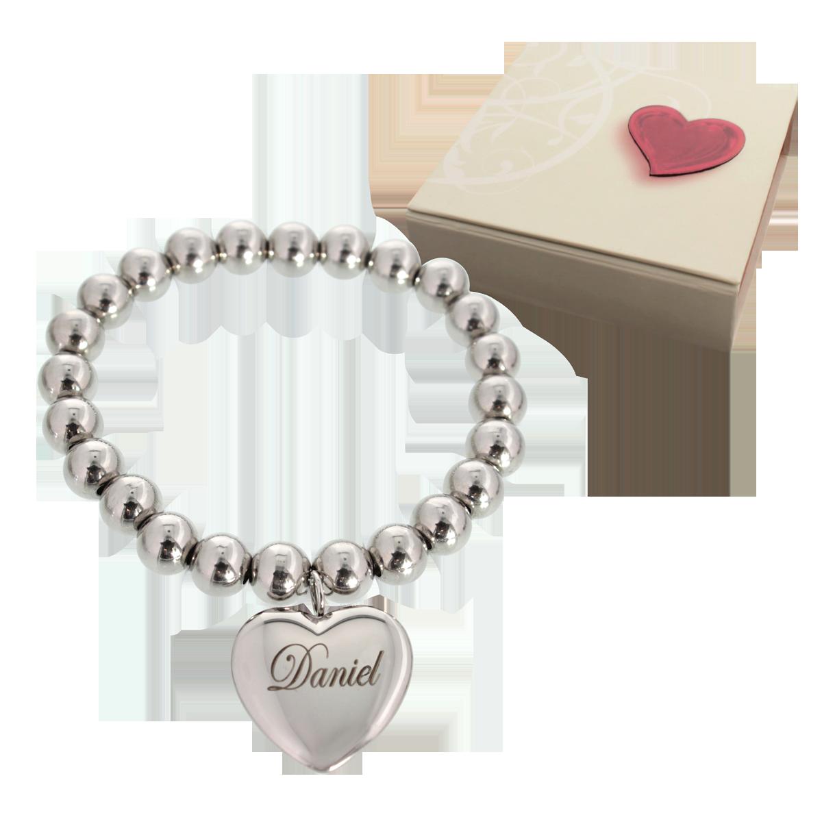 Bracelet billes avec coeur et gravure