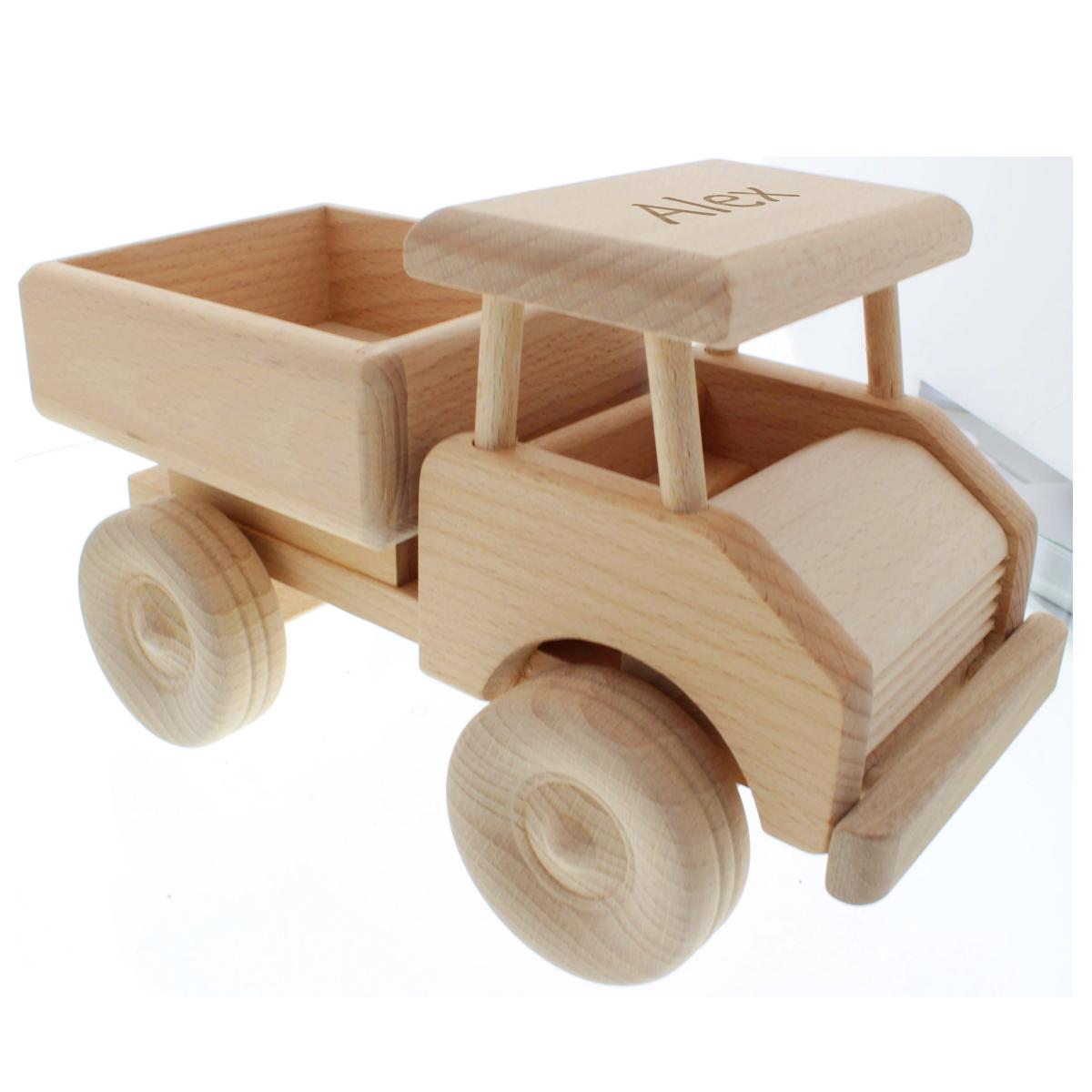 Cadeau, enfants, bébé, camion en bois, naissance, anniversaire