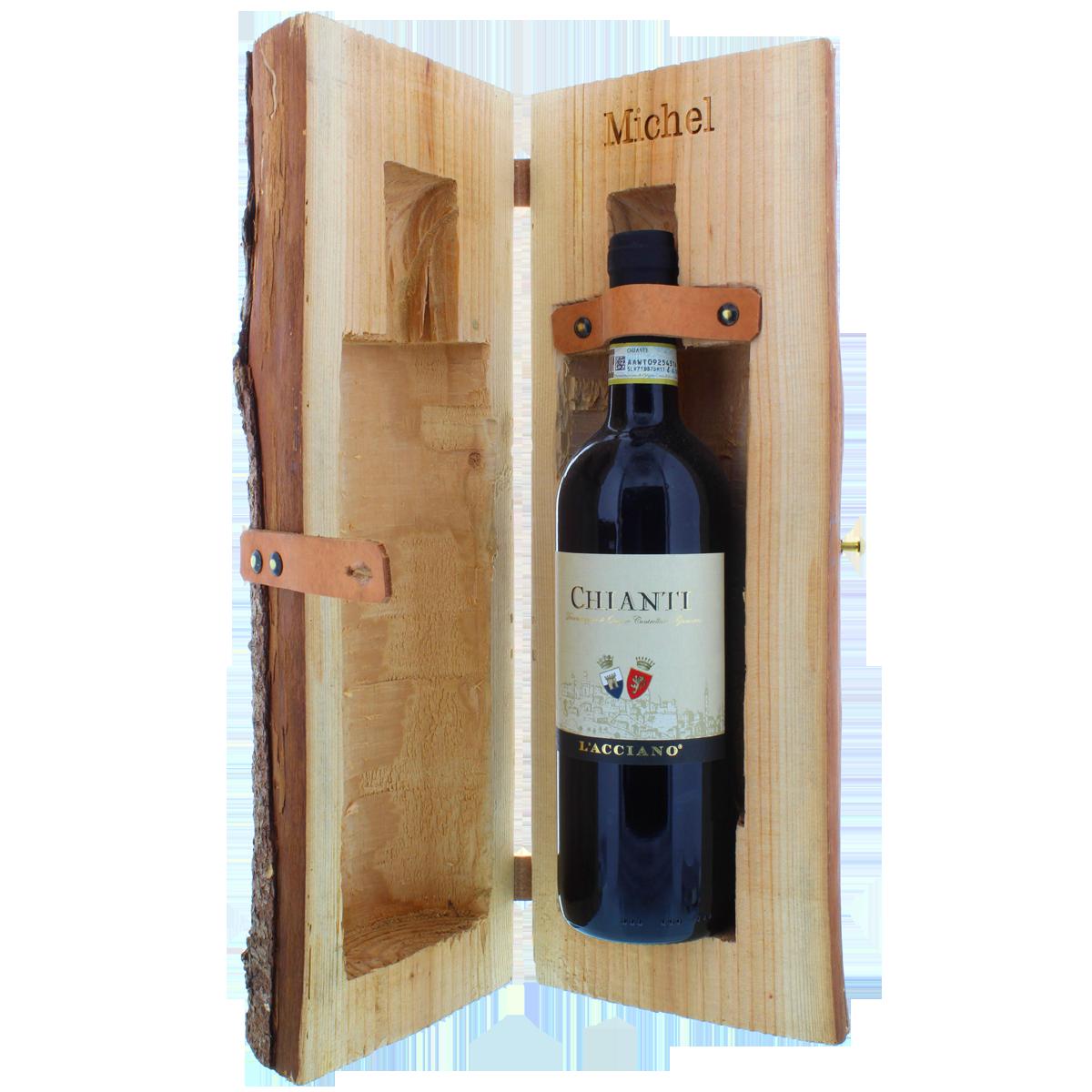 Rondin de bois, tronc d'arbre, coffret de vin, coffret en bois, cadeau, idée-cadeau, vin rouge italien