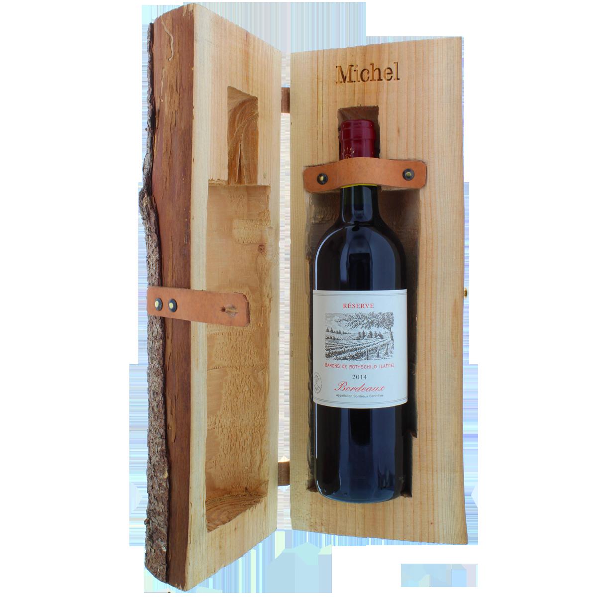 Rondin de bois, tronc d'arbre, coffret de vin, coffret en bois, cadeau, idée-cadeau, Bordeaux, vin