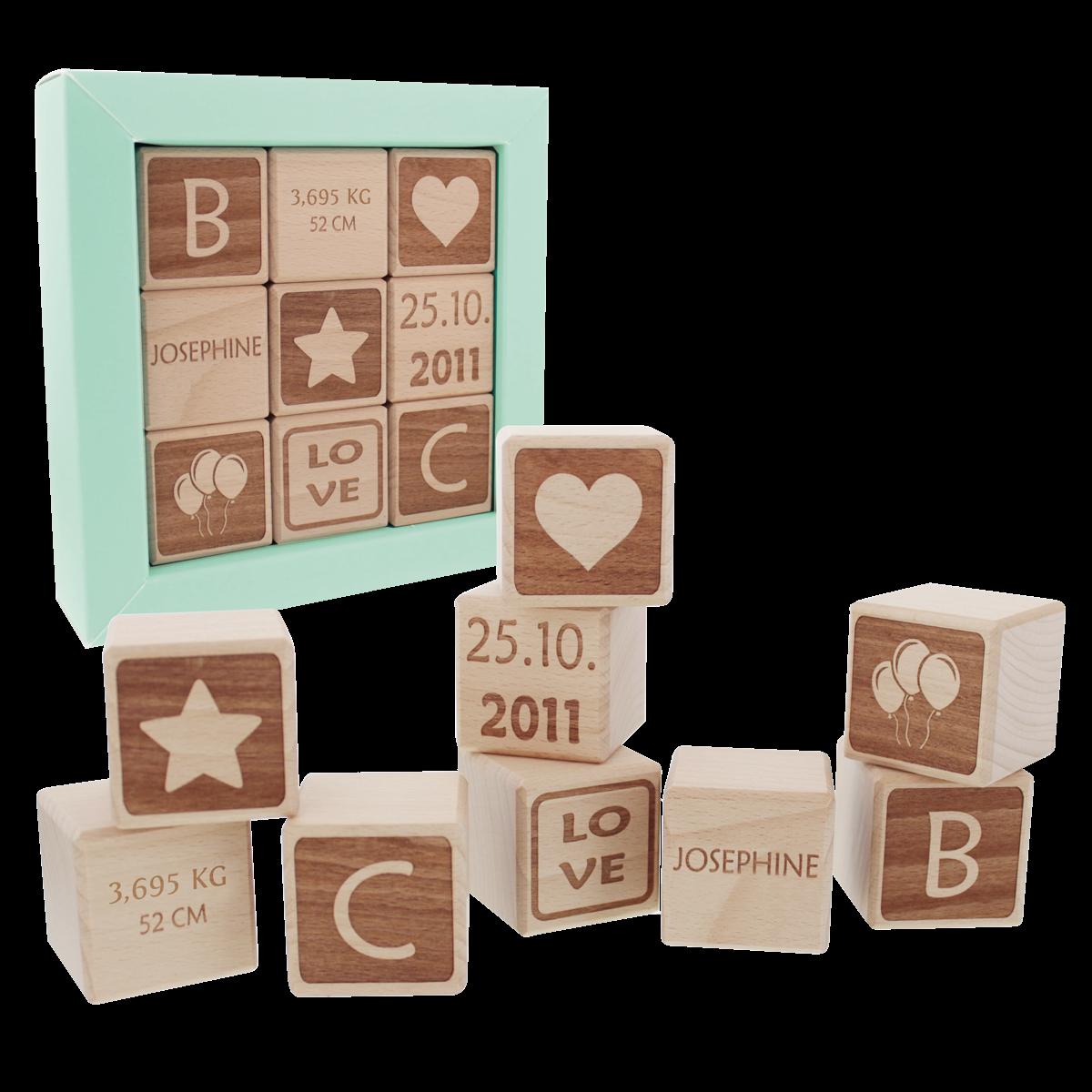 Cadeau, enfants, bb, cubes en bois, naissance, anniversaire
