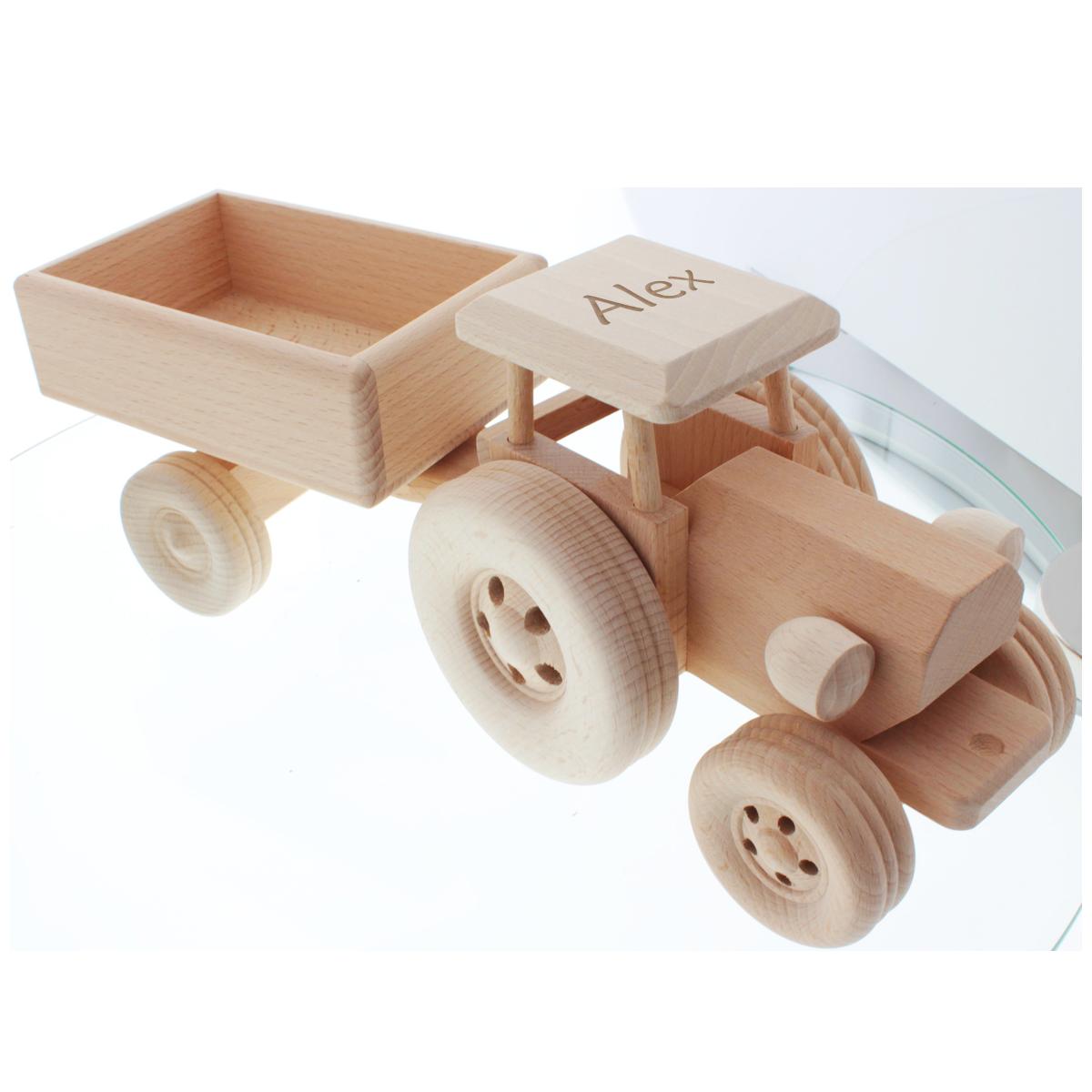 Cadeau, enfants, bébé, tracteur en bois, naissance, anniversaire
