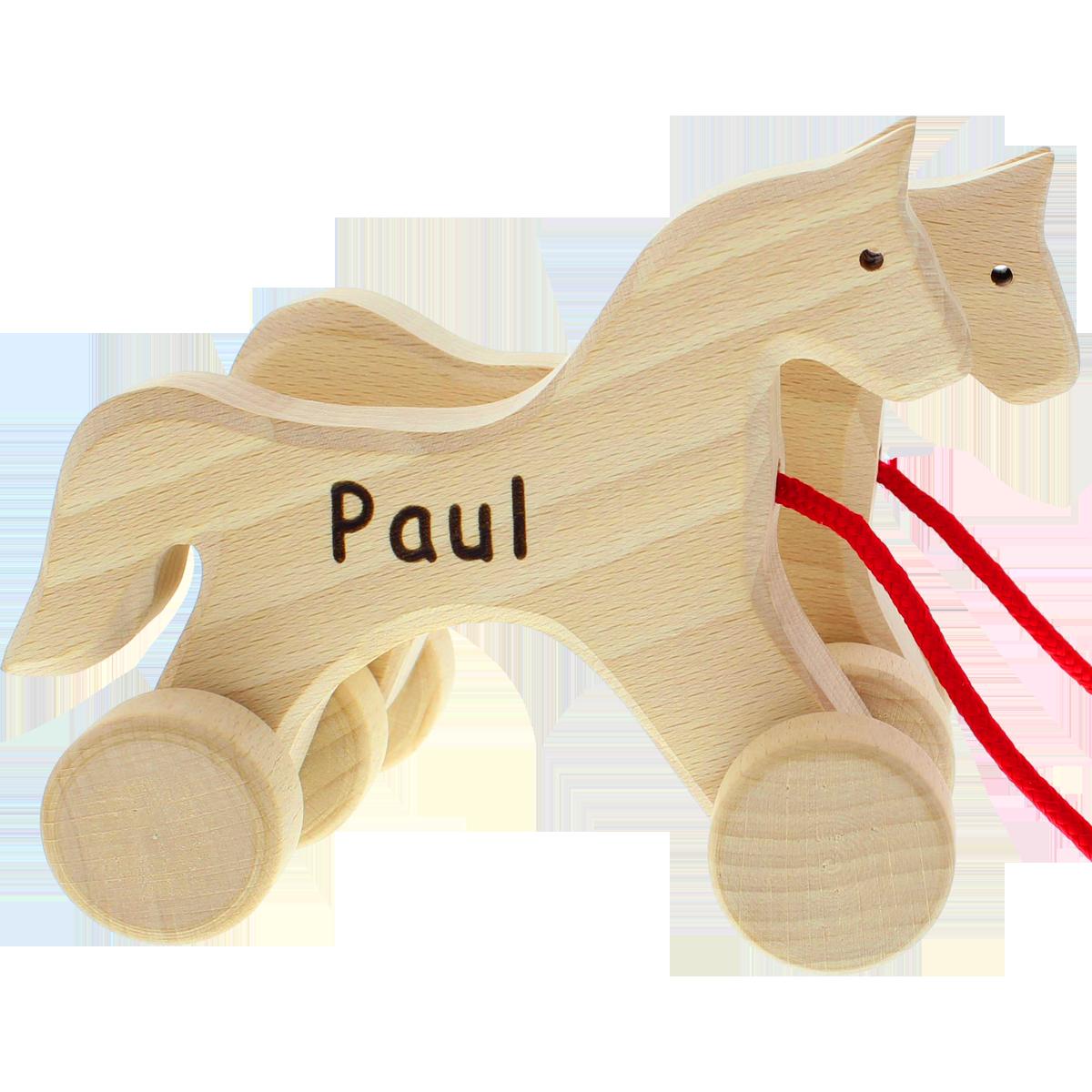 jouet é tirer, duo de chevaux en bois, bois, cadeau, idée-cadeau, enfants, cadeau pour enfants