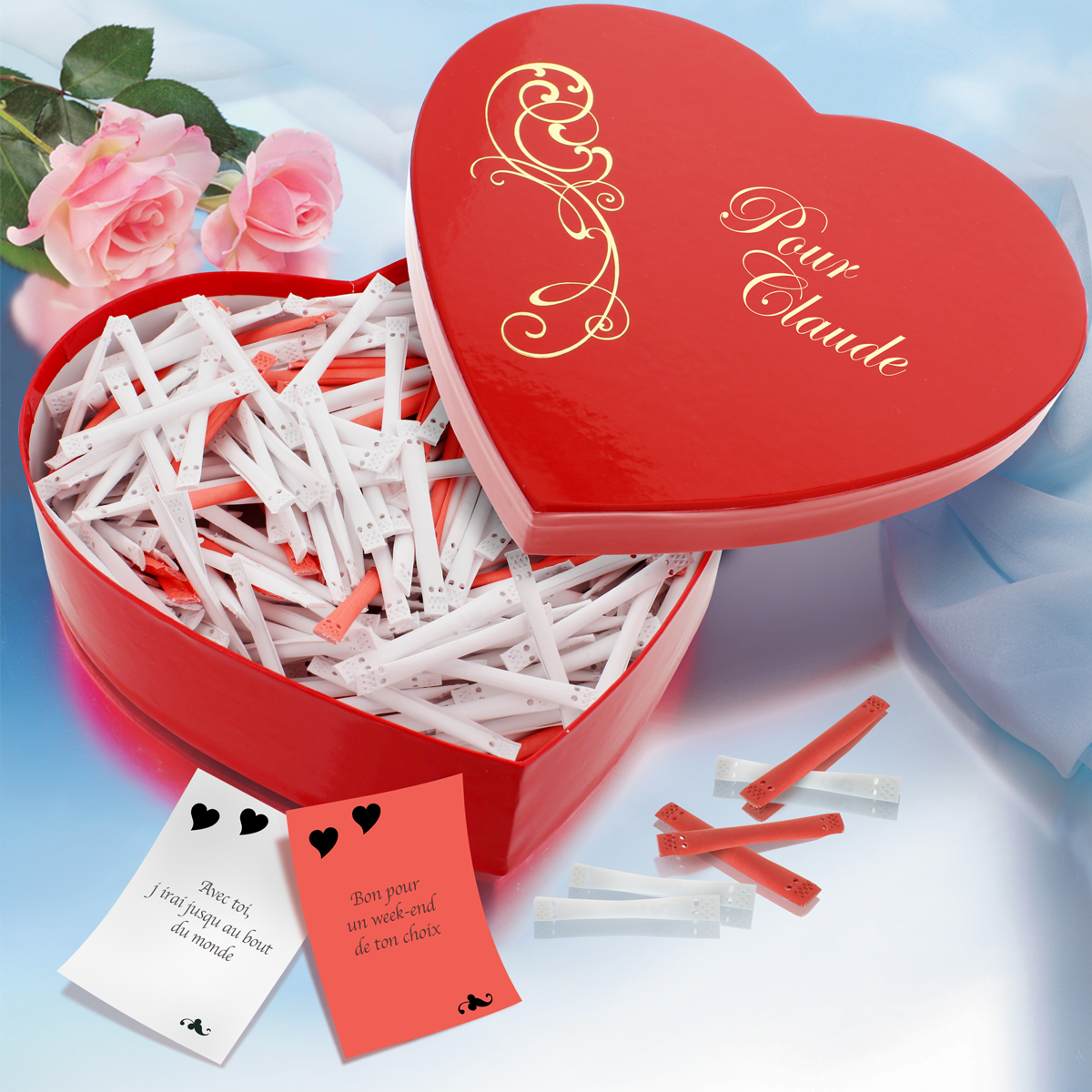 Cadeau d`amour : Love Heart - Coeur avec 365 messages amoureux