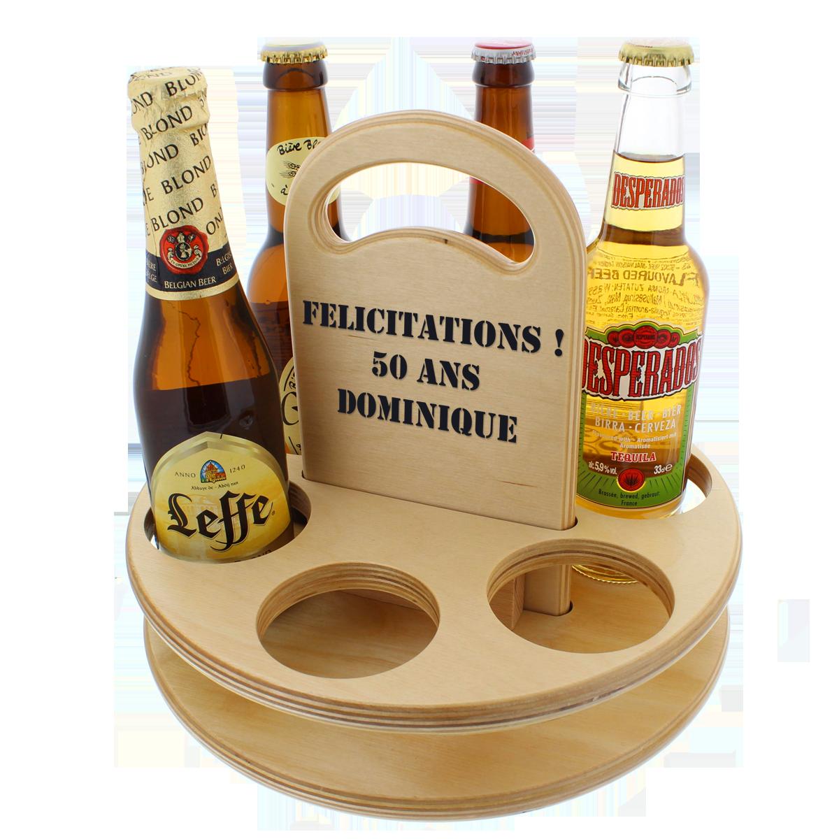 Porte-bouteilles en bois, cadeau, biére, gravure personnalisée