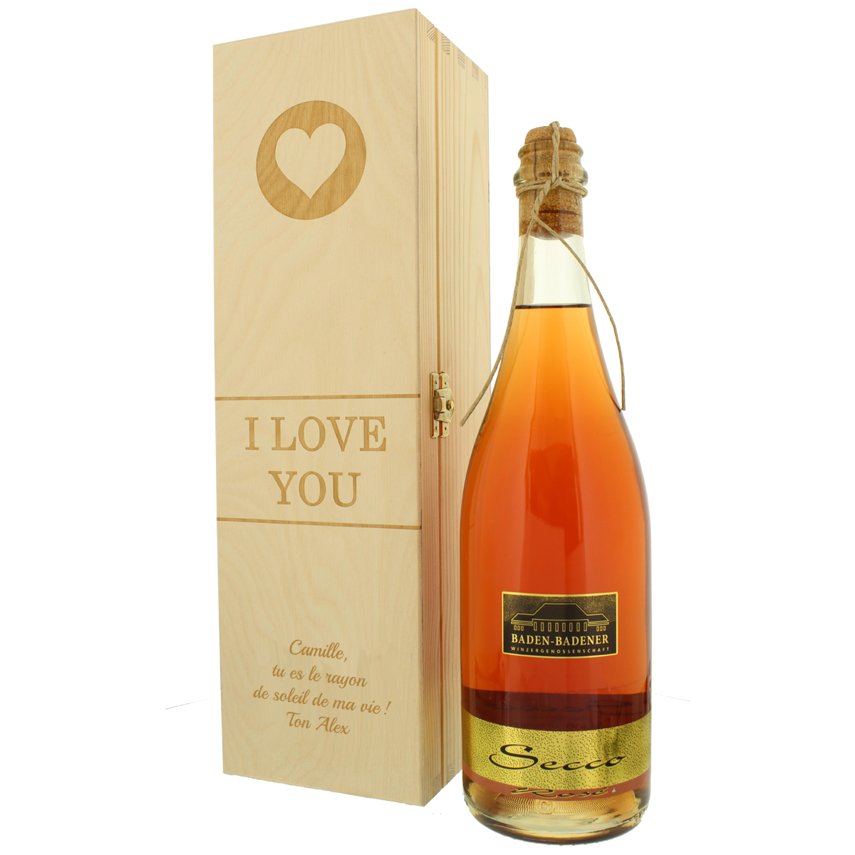 secco rosé, vin, cadeau amoureux, cadeau personnalisé, cadeau Avec gravure, cadeau, idée-cadeau