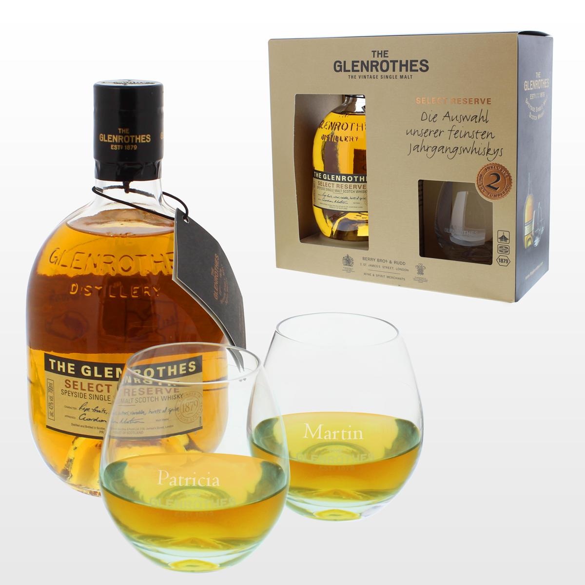 Whisky Glenrothes, Whisky, single malt, cadeau, anniversaire, Glenrothes, verres gravés